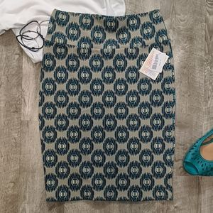 Tan and Teal Print Cassie Pencil Skirt